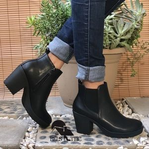 Black Vegan Leather Grunge Lug Sole ankle Bootie